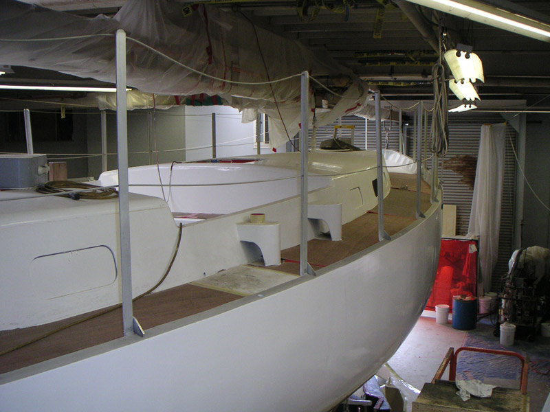 Custom 48 foot steel sailboat from garage to the water for Boat garage on water