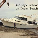 Bayliner 45 Washed up on Oceanside Beach