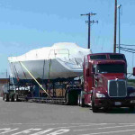 54 Foot Sailboat from Cargo Ship to Boatyard for Launch